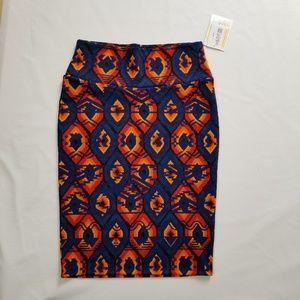 LULAROE Cassie Blue Orange Pencil Skirt Size Small